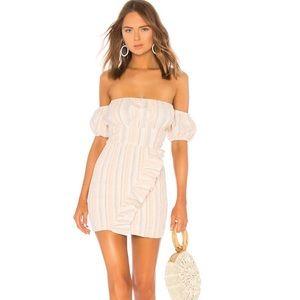 Tularosa Tiffany Dress Coral Multi Stripe XS